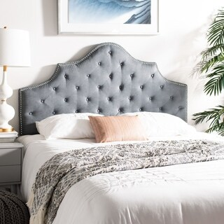 Safavieh Arebelle Grey Upholstered Tufted Headboard - Silver Nailhead (Queen)