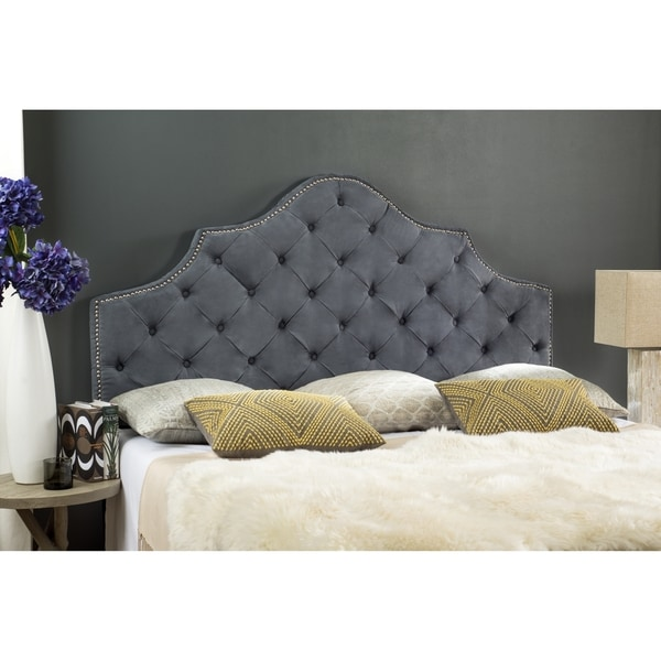 shop safavieh arebelle grey upholstered tufted headboard silver nailhead queen on sale. Black Bedroom Furniture Sets. Home Design Ideas