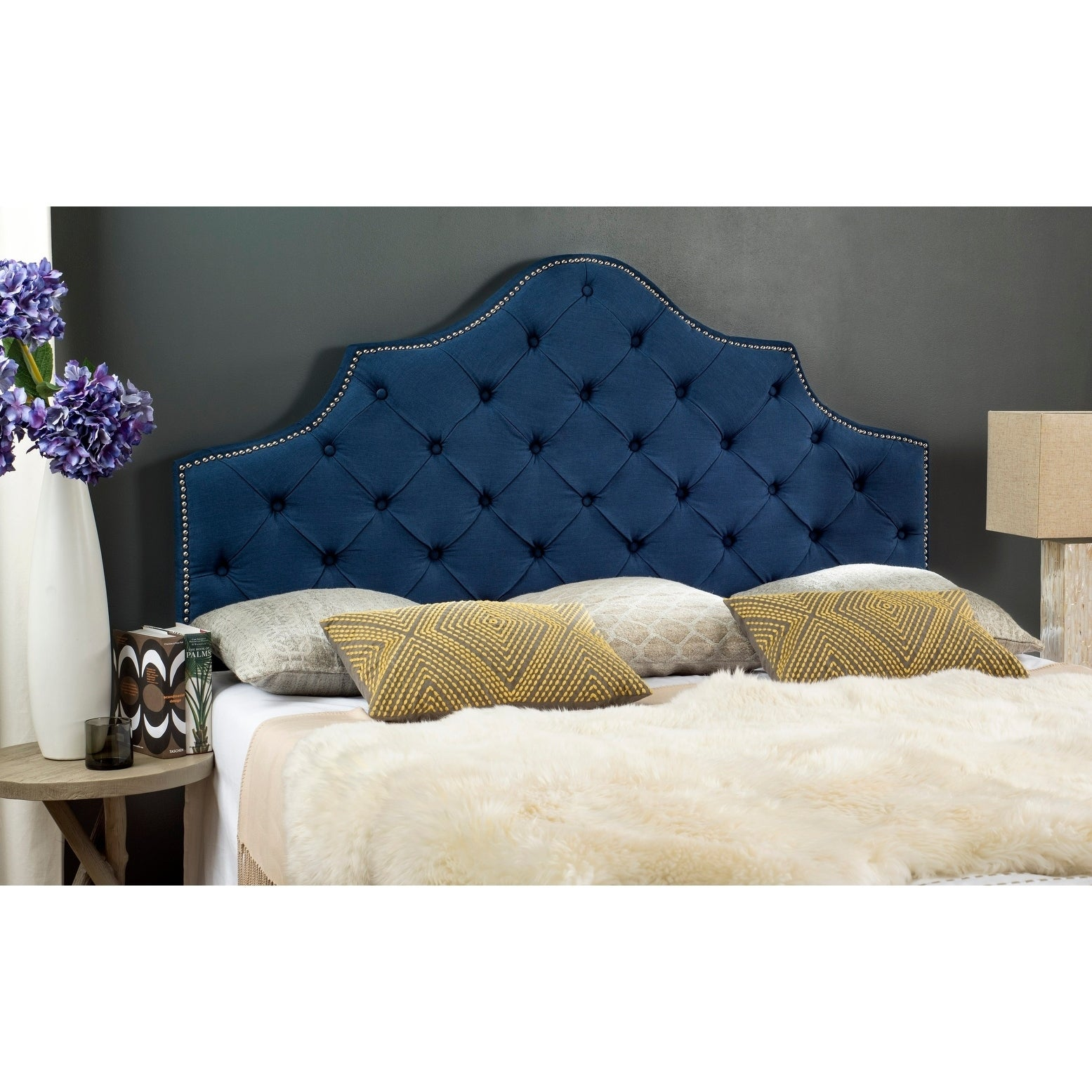 Picture of: Shop Safavieh Arebelle Steel Blue Upholstered Tufted Headboard Silver Nailhead King Overstock 12014924