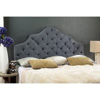 Safavieh Arebelle Grey Upholstered Tufted Headboard - Silver Nailhead (King)