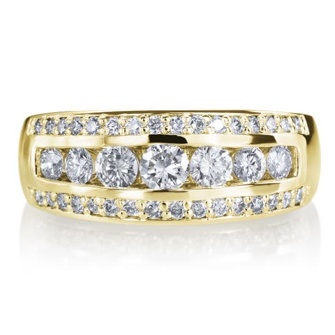 14k Yellow Gold 3 Row 1ct TDW Diamond Wedding Ring Band