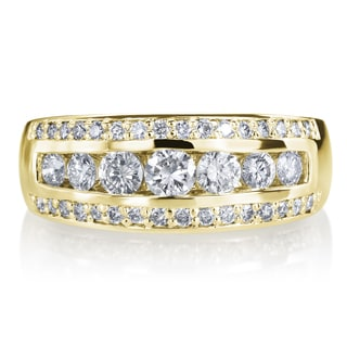 SummerRose 14k Yellow Gold 1ct TDW Diamond 3 Row Wedding Ring