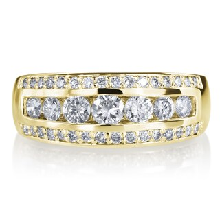 SummerRose 14k Yellow Gold 1ct TDW Diamond 3 Row Wedding Ring (More options available)