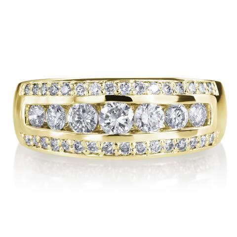 14k Yellow Gold 3 Row 1ct TDW Diamond Wedding Ring Band