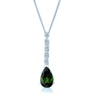 14k White Gold Green Tourmaline .05 ct TDW Diamond Pendant