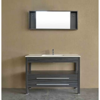 Bosconi A-5243CR Grey Aluminum/Oak/Wood/Ceramic 48-inch Contemporary Single Vanity
