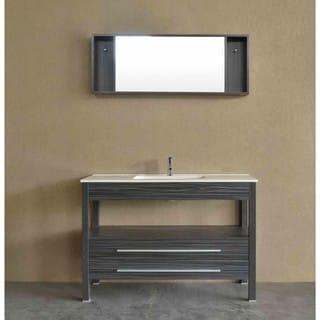 Bosconi A-5243CR Grey Aluminum/Oak/Wood/Ceramic 48-inch Contemporary Single Vanity