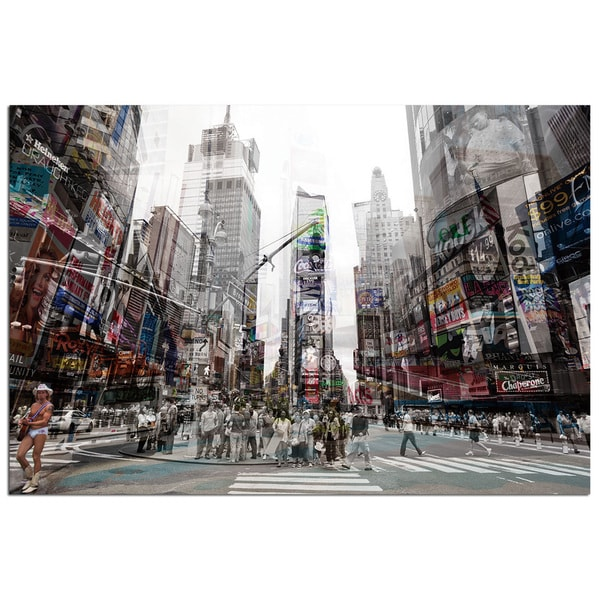 Modern Home Tempered Glass Ultra-high Resolution 3D Times Square 'New York 4' Wall Art. Opens flyout.
