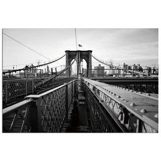 Modern Home 'New York Brooklyn Bridge 2' Ultra-high Resolution Tempered Glass Wall Art