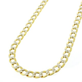 "14k Yellow Gold 5mm Hollow Cuban Curb Link Diamond Cut Two-Tone Pave Necklace Chain 20"" - 26"""