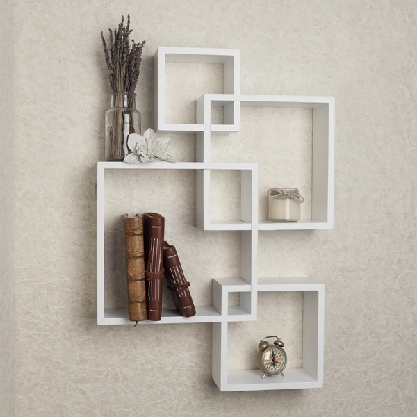 danya b white laminate intersecting cube shelves free. Black Bedroom Furniture Sets. Home Design Ideas