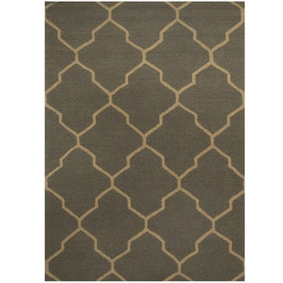 Herat Oriental Indo Hand-tufted Dark Gray/ Light Gray Trellis Wool Rug (5' x 7')