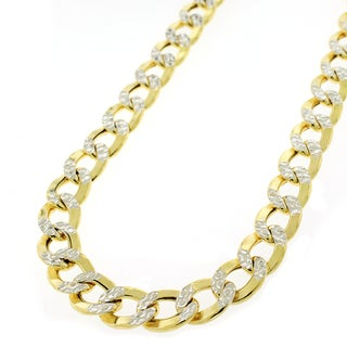 """14k Yellow Gold 7.5mm Hollow Cuban Curb Link Diamond Cut Two-Tone Pave Necklace Chain 24"""" - 28"""""""