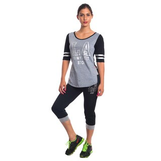 Special One Women's Blue/Black/Grey Cotton/Polyester 2-Piece Knit Activewear Set