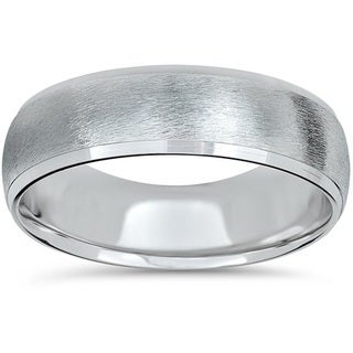 14k White Gold Beveled & Brushed Wedding Band
