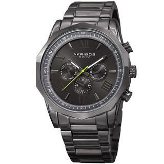 Akribos XXIV Men's Swiss Quartz Multifunction Gray Stainless Steel Bracelet Watch