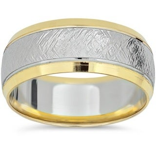 14k White & Yellow Gold 8mm Two Tone Wedding Band. Opens flyout.