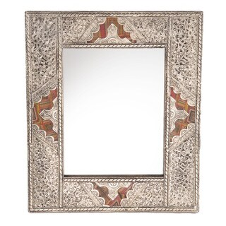 Handmade 15.5-inch Metal and Leather Mirror (Morocco)