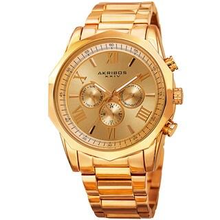 Akribos XXIV Men's Swiss Quartz Multifunction Gold-Tone Stainless Steel Bracelet Watch