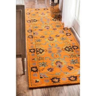nuLOOM Handmade Overdyed Persian Wool Gold Runner Rug (2'6 x 8')