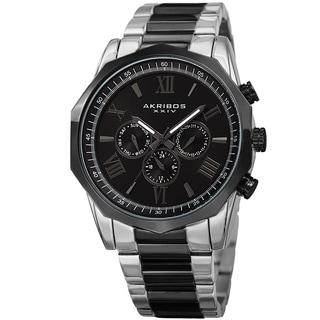 Akribos XXIV Men's Swiss Quartz Multifunction Two-Tone/Black Stainless Steel Bracelet Watch