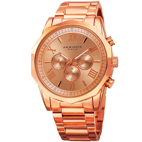 Akribos XXIV Men's Swiss Quartz Multifunction Rose-Tone Stainless Steel Bracelet Watch