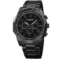 Akribos XXIV Men's Swiss Quartz Multifunction Black Stainless Steel Bracelet Watch