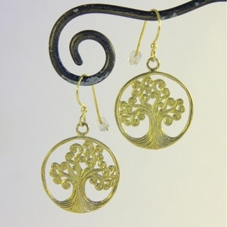 Spirit Tribal Fusion Tree of Life Brass Dangle Earrings (Bali)