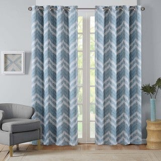 Intelligent Design Nara Ikat Chevron Printed Curtain Panel with Blackout Lining