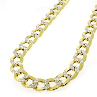14k Gold 9mm Hollow Two-tone Cuban Curb Diamond-cut Pave Chain Necklace