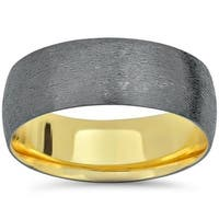 14k Black & Yellow Gold Two Tone Brushed Wedding Band