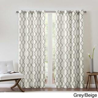 Copper Grove Grandiflorus Textured Fretwork Printed Curtain Panel