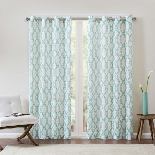 Copper Grove Grandiflorus Textured Fretwork Printed Curtain Panel. Opens flyout.