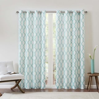 Madison Park Grant Textured Fretwork Printed Curtain Panel