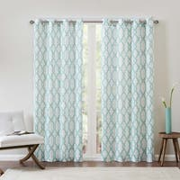Clay Alder Home Mahned Textured Fretwork Printed Curtain Panel