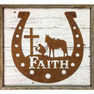 Faith Rustic Horseshoe 'Faith' Cowboy at the Cross Framed Sign
