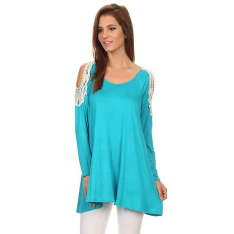 MOA Collection Women's Multicolored Rayon/Spandex Top with Crochet Lace Shoulders