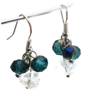Mama Designs Sterling Silver Handmade Beaded Dangling Earrings