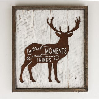 Rustic Shabby Chic Frame with Metal Deer 'Collect Moments, Not Things' Sign