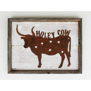 'Holey Cow' Rustic Frame and Metal Sign