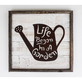 'Life Began in the Garden' Rustic Frame with Metal Watering Can Sign