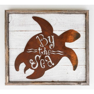 By the Sea Rustic Frame with Metal Turtle Sign
