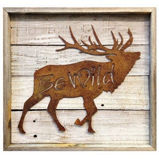 'Be Wild' Rustic Metal Sign in Frame