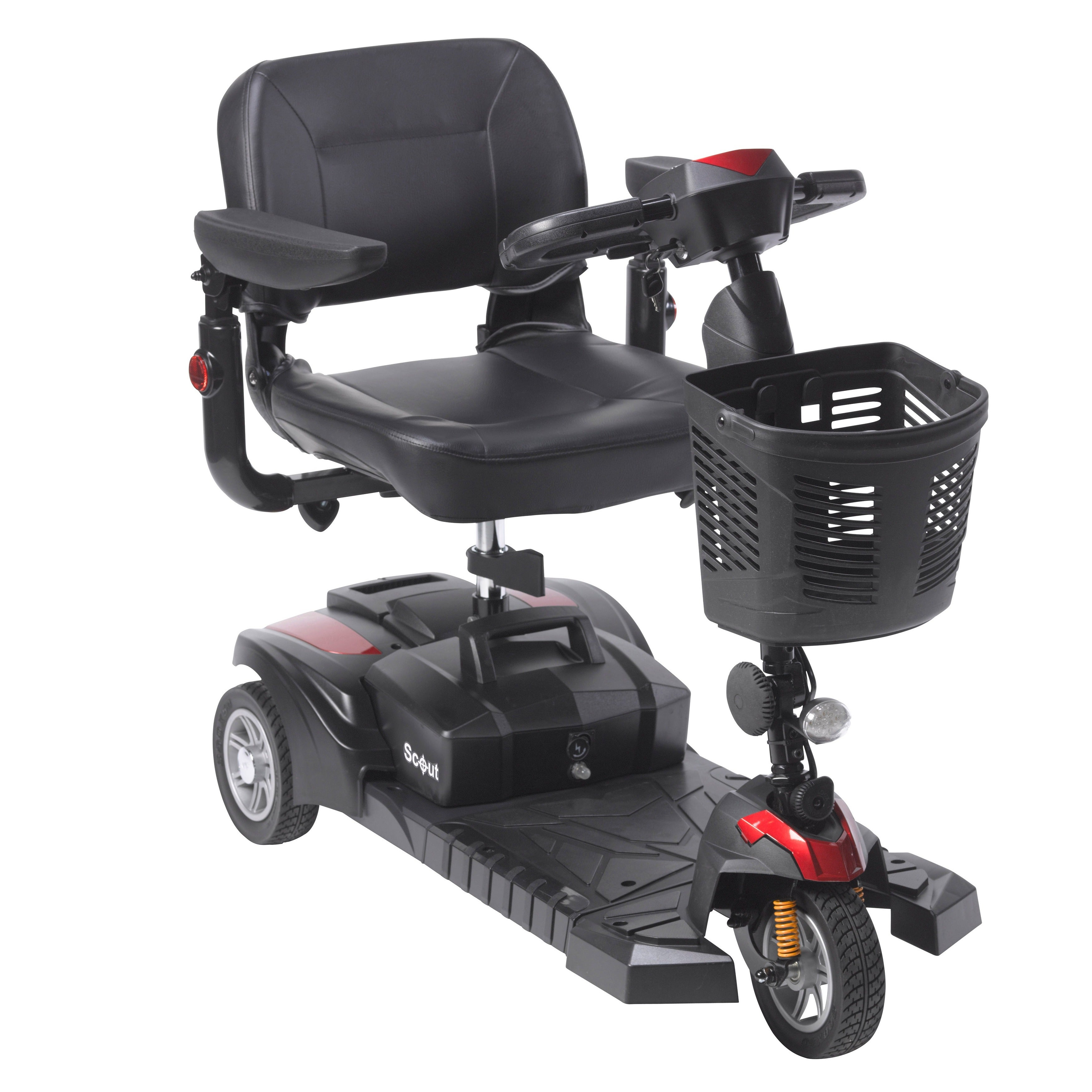 Drive Medical Scout DST 3-wheel Travel Scooter, Silver steel