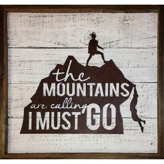 'The Mountains Are Calling, I Must Go' Rustic Frame with Metal Mountain Men Sign