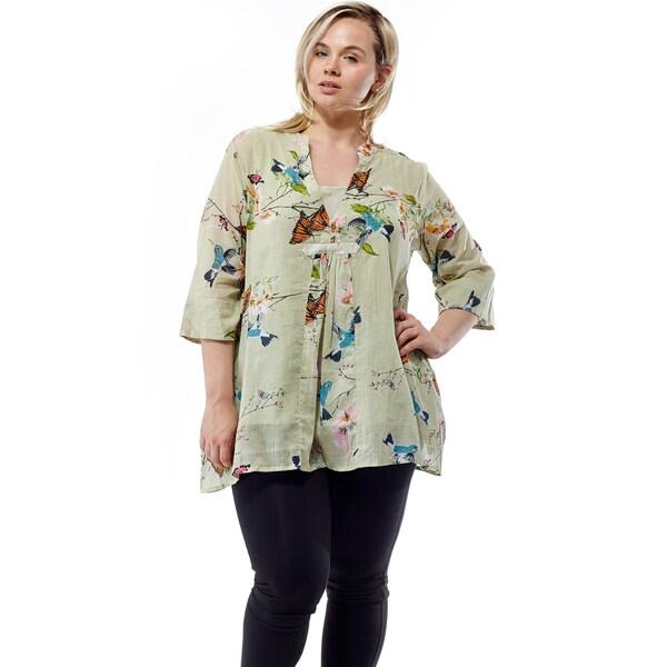 La Cera Women's Plus-size Butterfly/Hummingbird Print Tunic