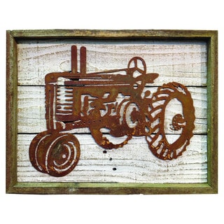 Recherche Furnishings Rustic Shabby Chic Metal Frame Old Tractor Sign