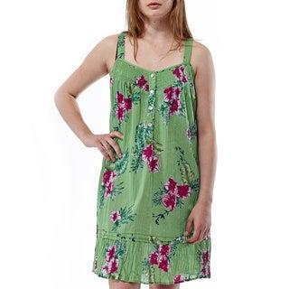 La Cera Women's Voile Floral Print Crinkle Chemise