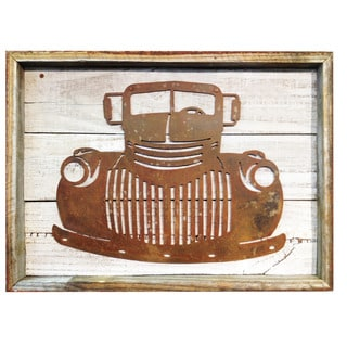 Recherche Furnishings Rustic Shabby Chic Frame with Metal Old Truck Sign