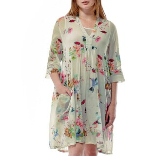 La Cera Women's Hummingbird Print Short Dress (More options available)